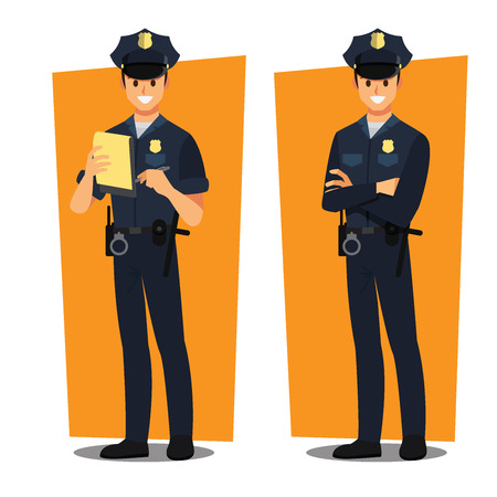 police officers ; vector character Illustration
