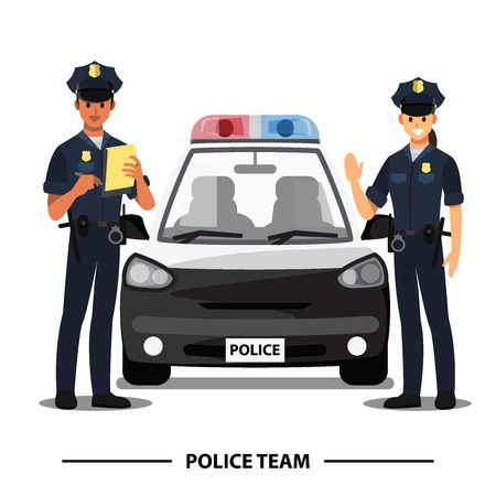 police officers team , vector character 일러스트