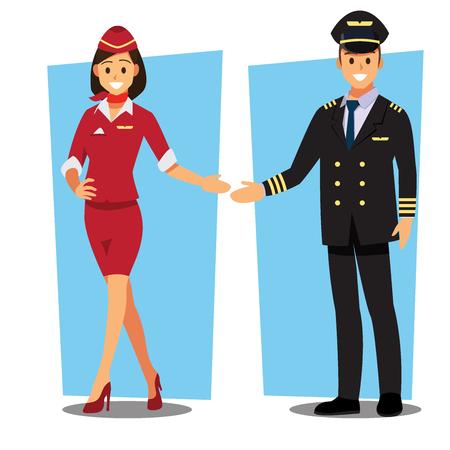 Fliegende Stewardess und Pilot Charakter Vektorgrafik