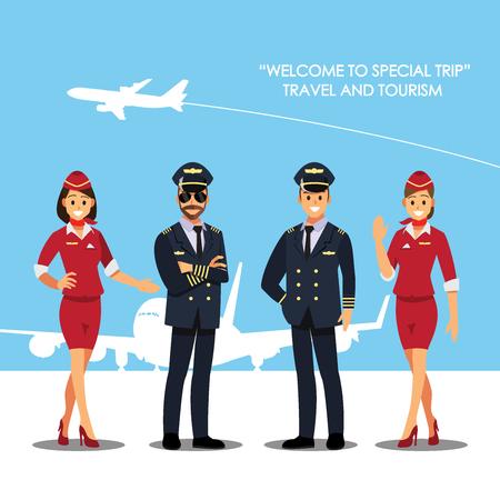 Pilote, capitaine, hôtesse de l'air, hôtesse de l'air, personnage de bande dessinée illustration vectorielle