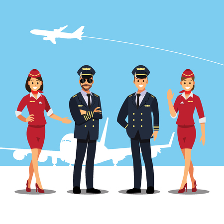 Flying attendants and Pilots character Banque d'images - 94707031