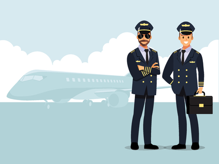 Welcome to travel by plane. Pilot, capitan   Vector illustration cartoon character Banque d'images - 94579681