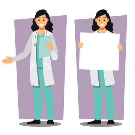 여성 의사, 의료 공급자, 벡터 일러스트 만화 캐릭터의 다양 한 집합