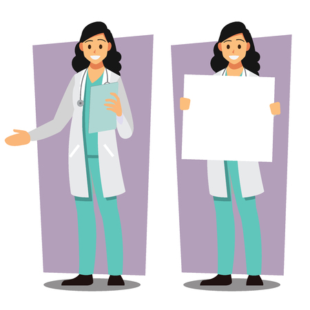 Diverse set of female doctor , healthcare Providers , Vector illustration cartoon character