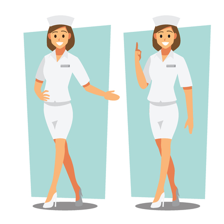 Diverse set of female Nurse , healthcare Providers , Vector illustration cartoon character