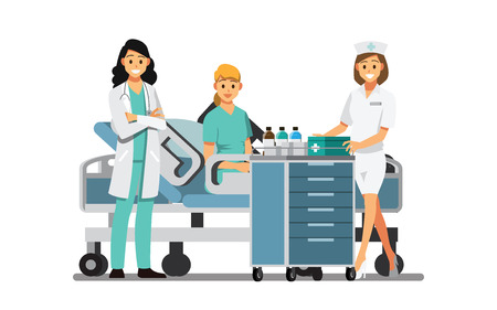 Medical Team and   patient in the hospital room. ,Vector illustration cartoon character