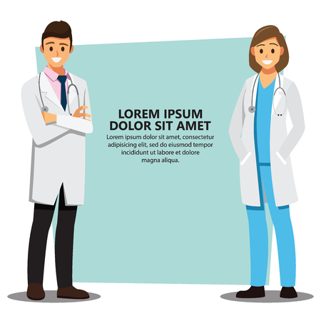 Smiling medical doctors team background, healthcare Providers , Vector illustration cartoon character Çizim