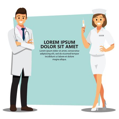 Smiling medical doctors team background, healthcare Providers , Vector illustration cartoon character Illustration