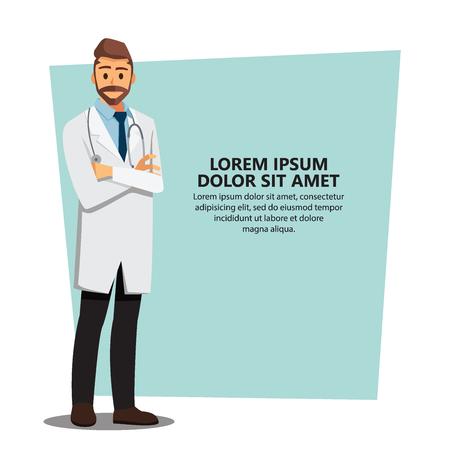Smiling medical doctors  background, healthcare Providers , Vector illustration cartoon character Stock Illustratie