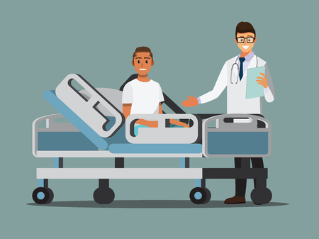 Medical Team and patient in the hospital room. Vector illustration cartoon character.