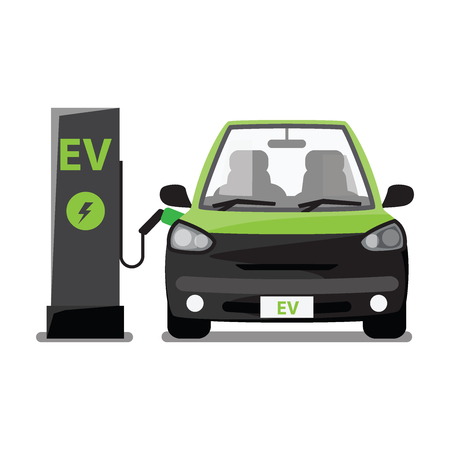 Electric vehicle , ev station. Vectores