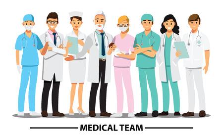 Ärzteteam und Personal, Vektorillustrationszeichentrickfilm-figur