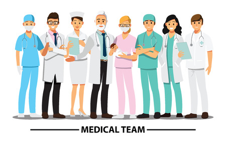 Équipe médicale et personnel, personnage de bande dessinée illustration vectorielle
