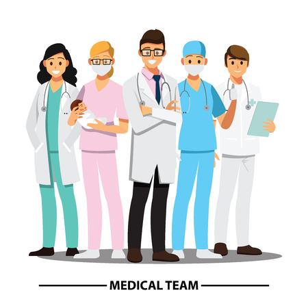 Medisch team en personeel, het vectorkarakter van het illustratiebeeldverhaal