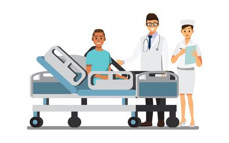 의료 팀 및 병원 방 환자입니다. , 벡터 일러스트 만화 캐릭터