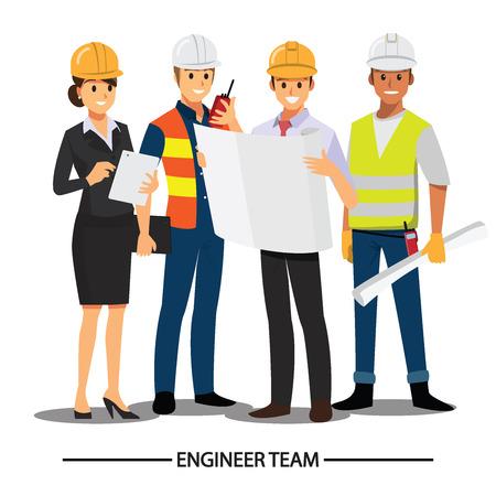 Technicus en bouwers en ingenieurs en monteurs Mensen teamwerk, Vector illustratie stripfiguur. Vector Illustratie