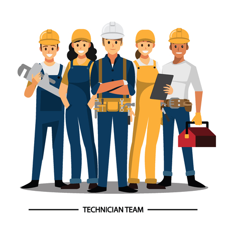 Tecnico e costruttori e ingegneri e meccanici Il lavoro di squadra della gente, personaggio dei cartoni animati dell'illustrazione di vettore.