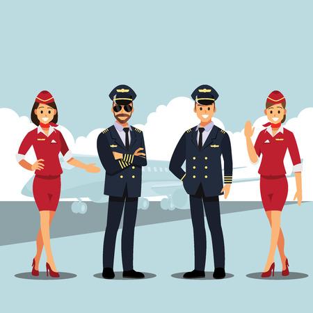businessmen consulting pilots and flight attendants. Business people concept cartoon illustration Stock Illustratie