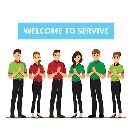 Recepcionista Gente de negocios Bienvenido ilustración de dibujos animados de concepto