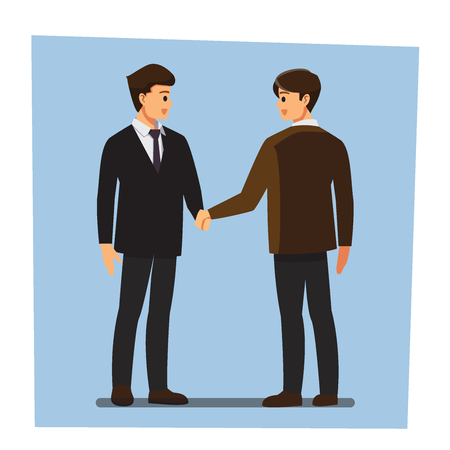 Two men shaking hands vector illustration