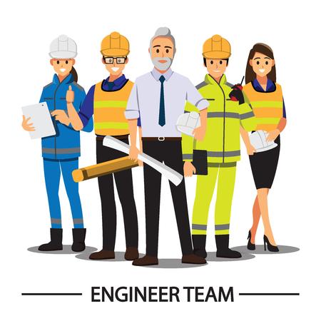 Técnico y constructores e ingenieros y mecánicos Trabajo en equipo de personas, personaje de dibujos animados de ilustración vectorial. Ilustración de vector