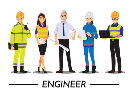 Tecnico e costruttori e ingegneri e meccanici Persone lavoro di squadra, personaggio dei cartoni animati di illustrazione vettoriale.
