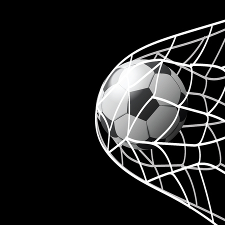 soccer ball in goal illustration