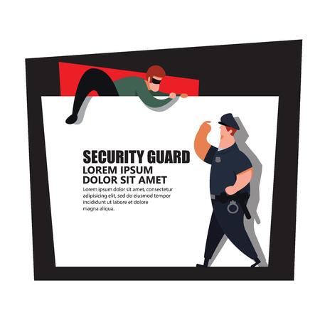 Agent de sécurité, policier attrape le voleur.