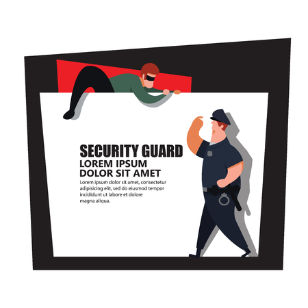Security guard , policeman catch thief.