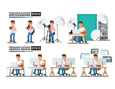Photographers and Graphic Design vector, Cartoon character Set