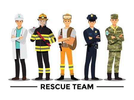 équipe de sauvetage, personnage de dessin animé d'illustration vectorielle.