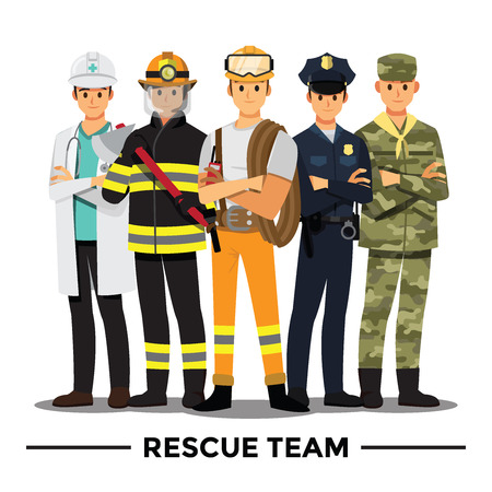 Rescue team cartoon character.