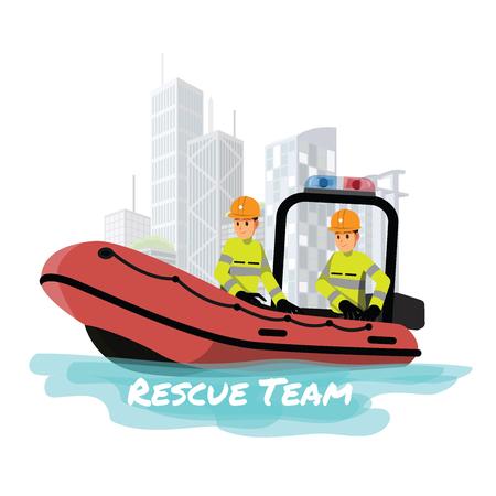 Rettungsboot. Vektorillustrationszeichentrickfilmfigur.