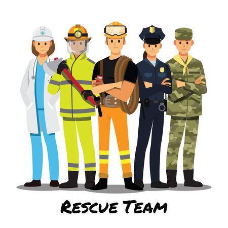 Rescue team cartoon character.