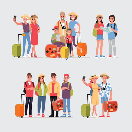 Happy group of teen and Family traveler.Vector illustration cartoon character.