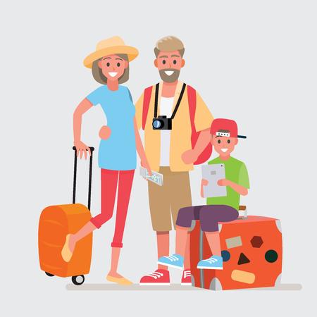 Feliz grupo de viajero familiar. Personaje de dibujos animados de ilustración vectorial.