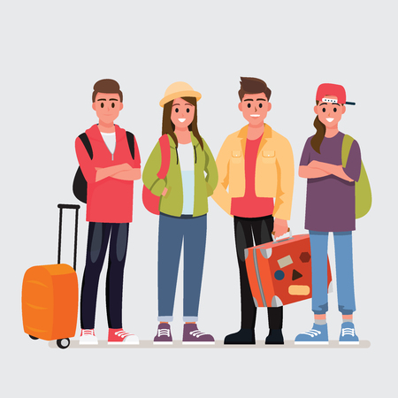 Happy group of teen traveler .Vector illustration cartoon character.
