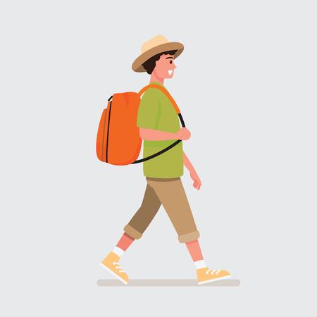 Glücklicher allein reisender .Vektorillustrationszeichentrickfilmfigur.