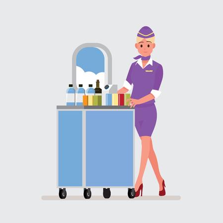 asistentes de vuelo, azafata, personaje de dibujos animados de ilustración vectorial Ilustración de vector