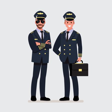 Piloto, capitán. Personaje de dibujos animados de ilustración vectorial Ilustración de vector