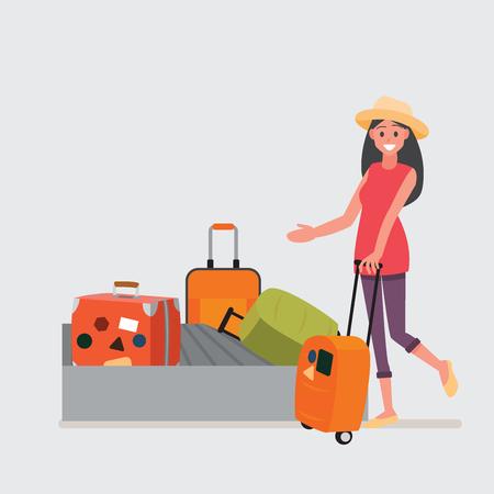 Reisender, der auf sein Gepäck an der Gepäckausgabe wartet. Vektorillustrationszeichentrickfilmfigur.