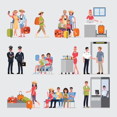 Flat Cartoon character with travel set, Illustration Infographics Airport.vector cartoon set. Travel concept. Vector Illustration