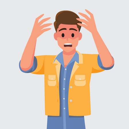 Man with shocked, amazed expression.Vector illustration cartoon character. Illustration
