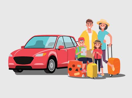 Die Familie wird mit dem Auto reisen, Vektorillustration Zeichentrickfigur im flachen Stil. Vektorgrafik