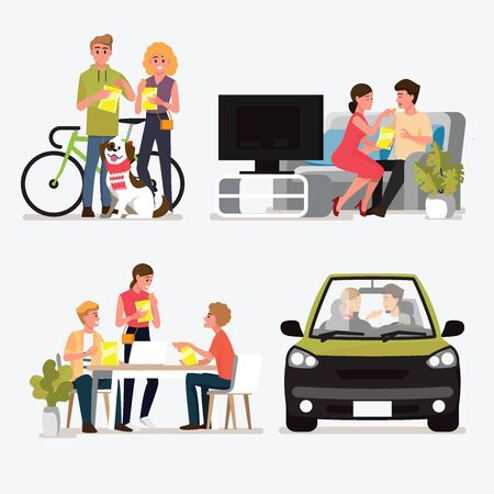 Group People Meeting and Dating for eat snacks set .Vector illustration cartoon character. Vettoriali