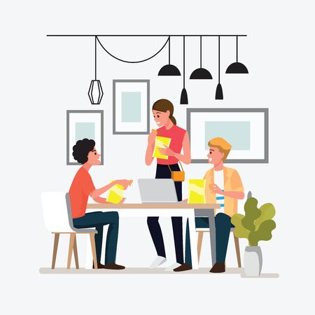 Group People Meeting Doing Project Concept.Teens eat snacks during work.Vector illustration cartoon character. Illustration