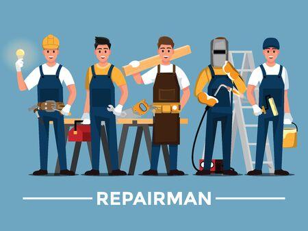 Repairman set,People teamwork ,Vector illustration cartoon character. Illustration