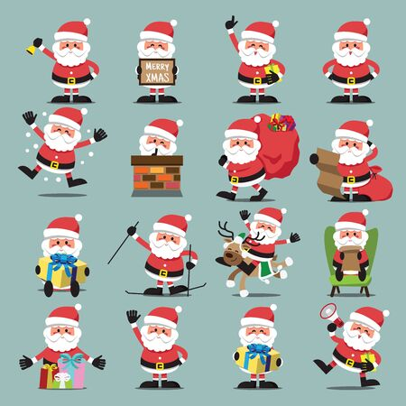 Santa Clauses set for christmas,character Mary Christmas and Happy New Year