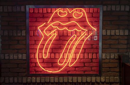 Rock Lips with Tongue out with Neon Light
