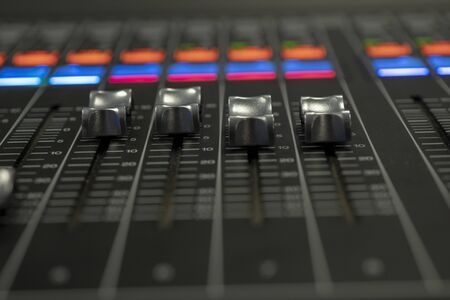 Audio Mixer with Faders moving from preset Reklamní fotografie
